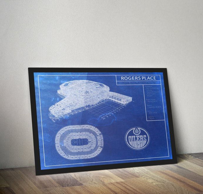 Edmonton Oilers Rogers Place blueprint art print. 5x7 to 24x36 with free
