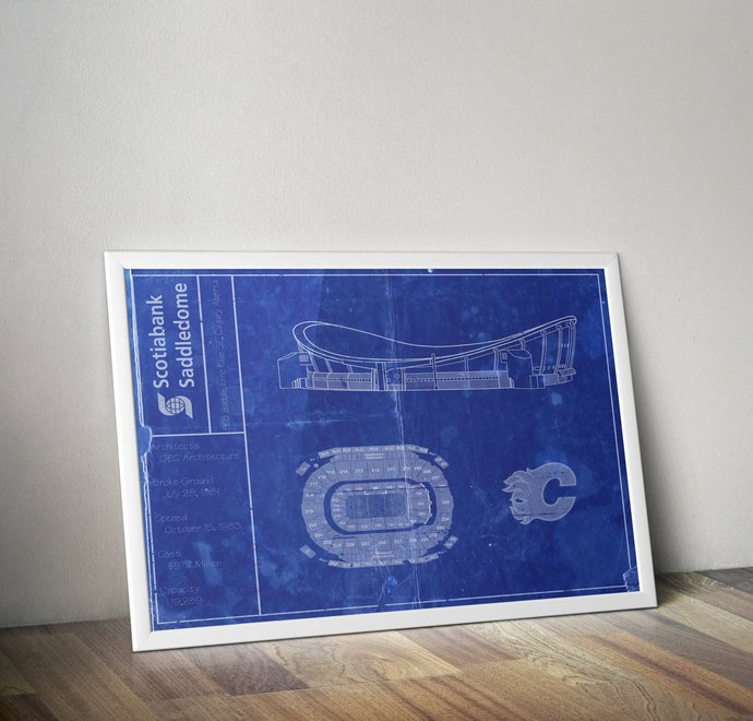 Scotiabank Saddledome blueprint art print. 5x7 to 24x36 with free shipping. NHL