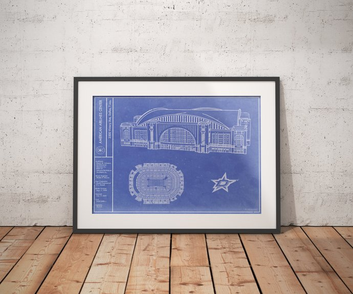 Dallas Stars American Airlines Center blueprint art print. 5x7 to 24x36 with