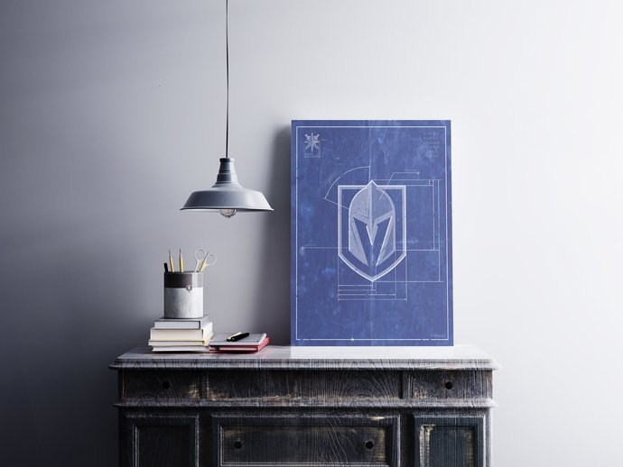 Vegas Golden Knights logo schematic art print. 5x7 to 24x36 with free shipping.