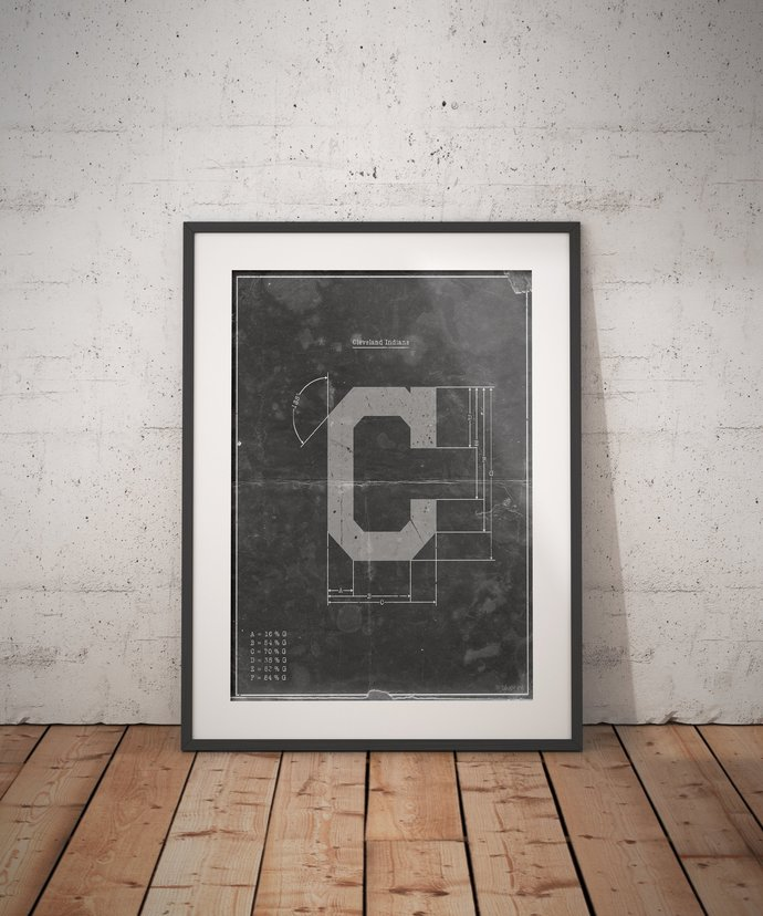 Cleveland Indians Vintage Logo Schematic Art Print. 5x7, to 24x36 with free