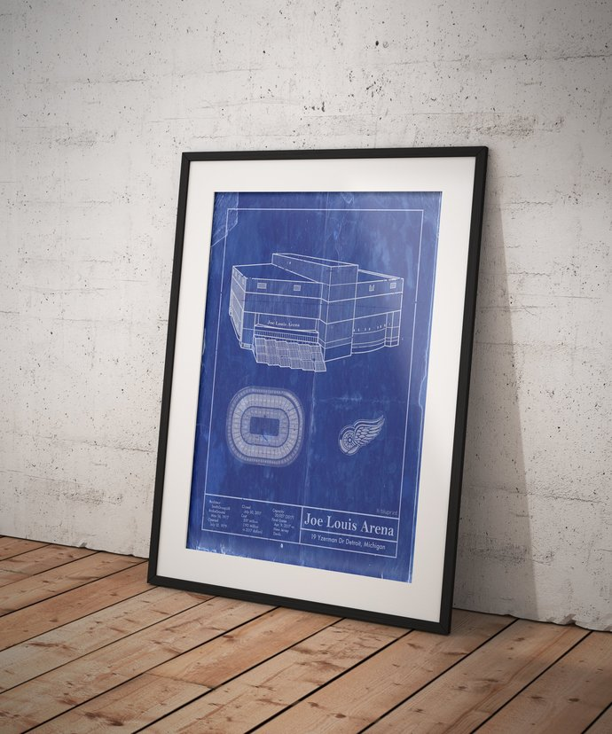 Joe Louis Arena blueprint Detroit Red Wings. 5x7 to 24x26 with free shipping.