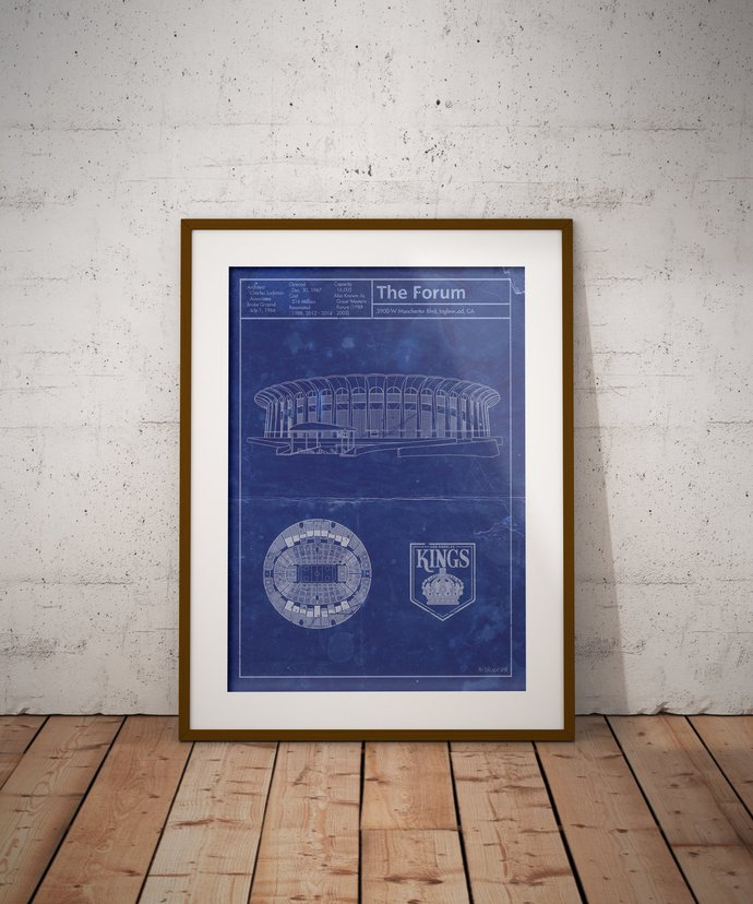 Los Angeles Kings The Forum blueprint art print. 5x7 to 24x36 with free