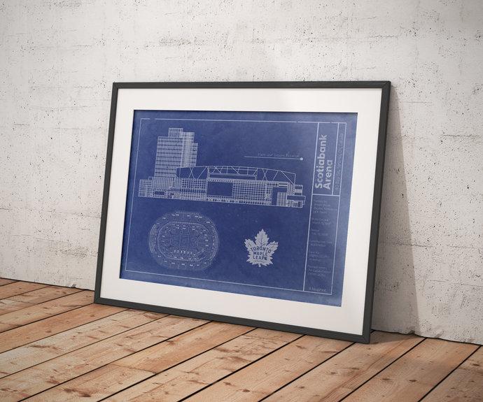 Toronto Maple Leafs ScotiaBank Arena blueprint art print. 5x7 to 24x36 with free