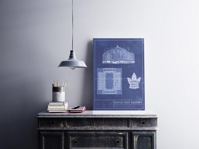 Toronto Maple Leaf Gardens blueprint art print. 5x7 to 24x36 with free shipping.