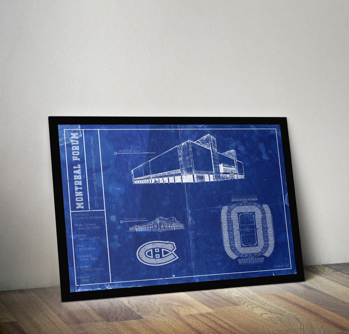 Montreal Canadians Montreal Forum blueprint art print. 5x7, to 24x36 with free