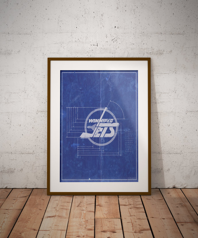 Winnipeg Jets vintage logo schematic art print. 5x7 to 24x36 with free shipping.