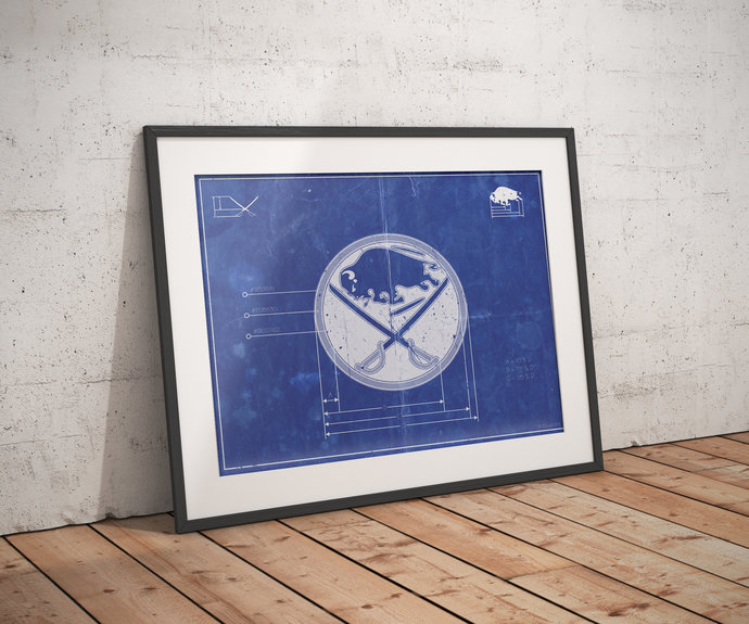 Buffalo Sabres Vintage logo schematic art print, 5x7 to 24x36 with free