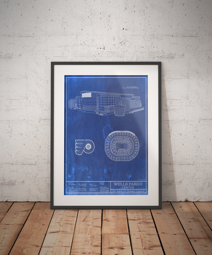 Philadelphia Flyers Wells Fargo Center blueprint art print. 5x7 to 24x36 with