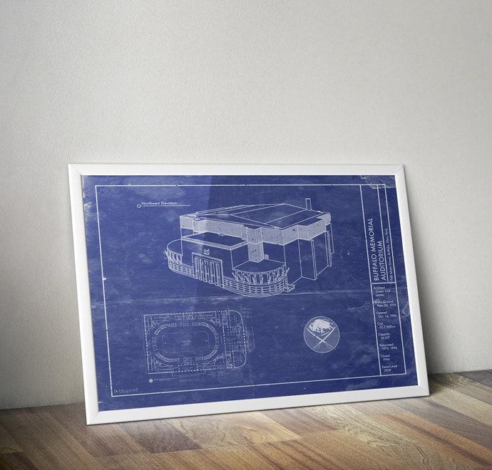 Buffalo Sabres Memorial Auditorium blueprint art, 5x7 to 24x36 with free