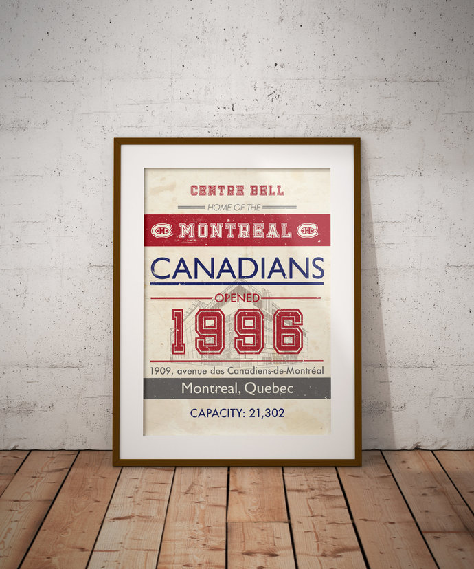 Montreal Canadians Bell Centre subway art print. 5x7 to 24x36 with free