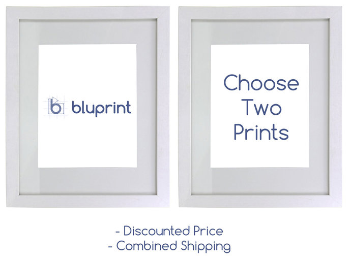 Choose any two blueprint or patent prints for a discount price.