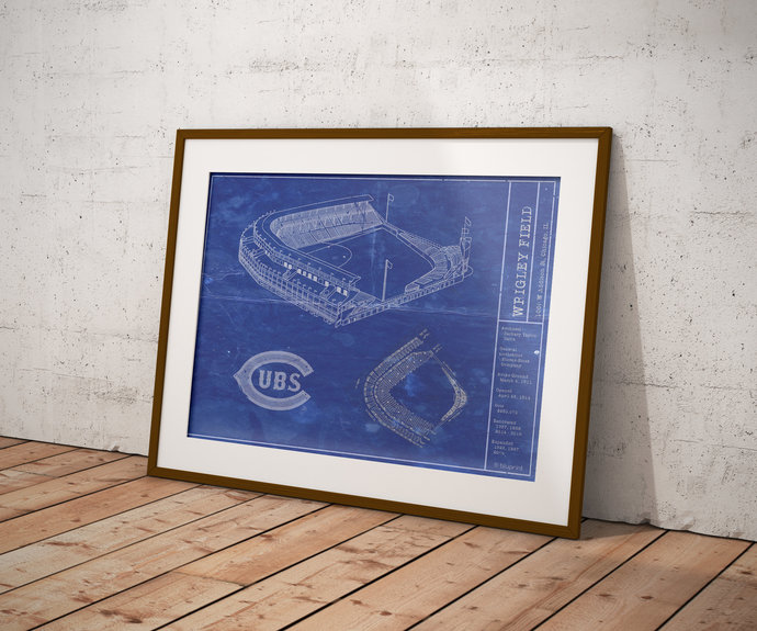 Chicago Cubs Wrigley Field vintage style blueprint art print. 5x7 to 24x36 with