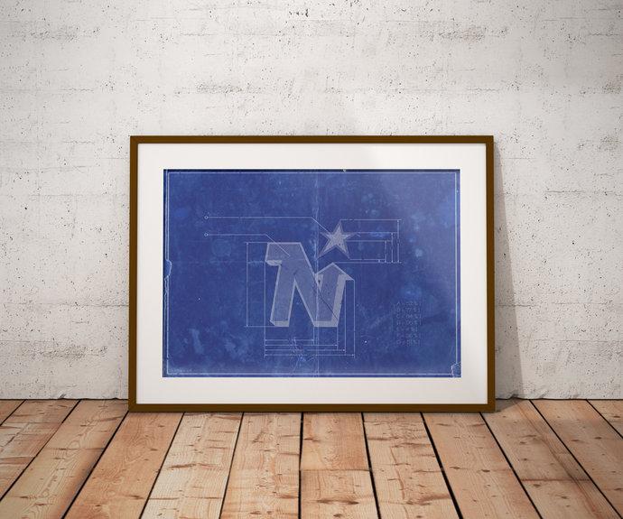 Minnesota North Stars Logo Schematic Art Print. 5x7, to 24x36 with free