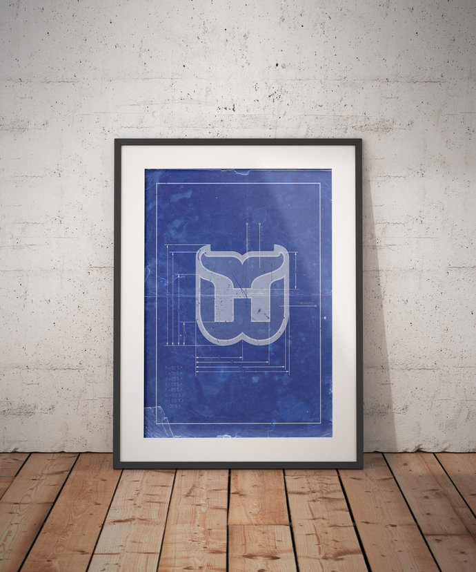 Hartford Whalers vintage logo schematic print. 5x7 to 24x36 with free shipping.