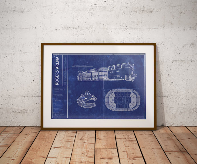 Vancouver Canucks Rogers Arena blueprint art print. 5x7 to 24x36 with free