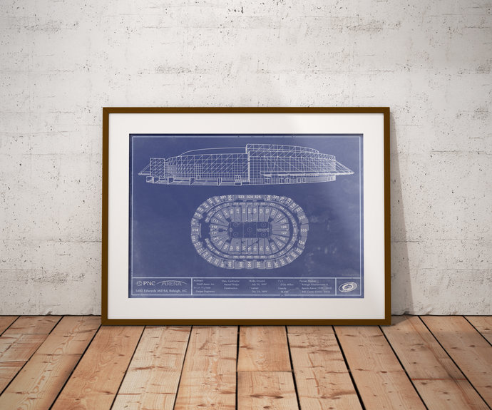 Carolina Hurricanes PNC Arena blueprint art print. 5x7 with 24x36 with free