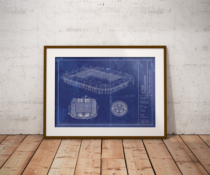 Leicester City F.C. King Power Stadium blueprint art print. 5x7 to 24x36 with