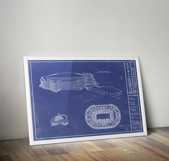 Colorado Avalanche Pepsi Center Arena blueprint art print. 5x7 to 24x36 with