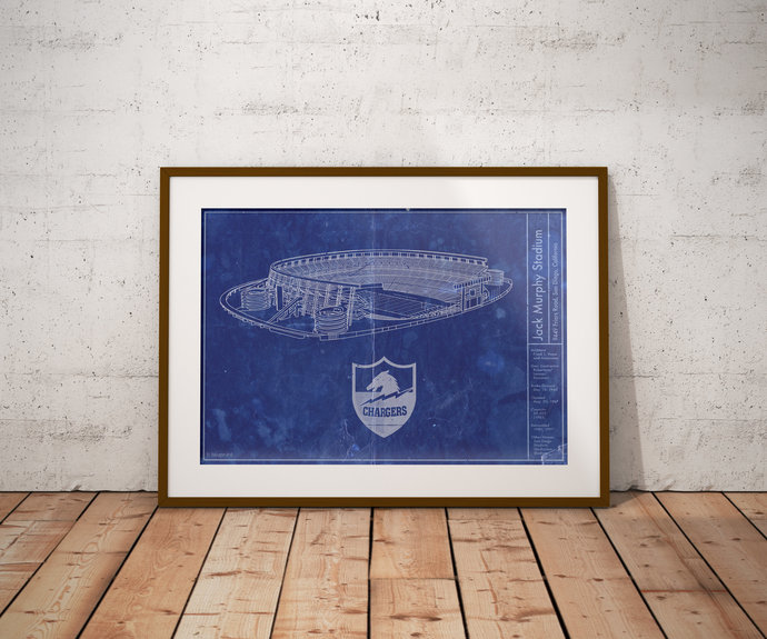 Jack Murphy Stadium (Qualcomm) blueprint Art Print, 5x7 8x10 Poster with free