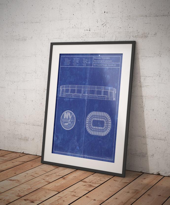 New York Islanders Nassau Veterans Memorial Coliseum blueprint. 5x7, to 24x36