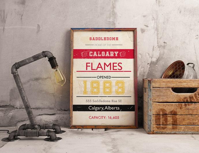 Calgary Flames Scotiabank Saddledome subway art print. 5x7 to 24x36 with free