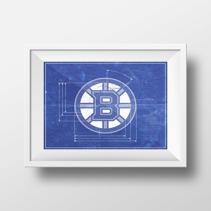 Boston Bruins logo schematic art print. 5x7 to 24x36 with free shipping. NHL