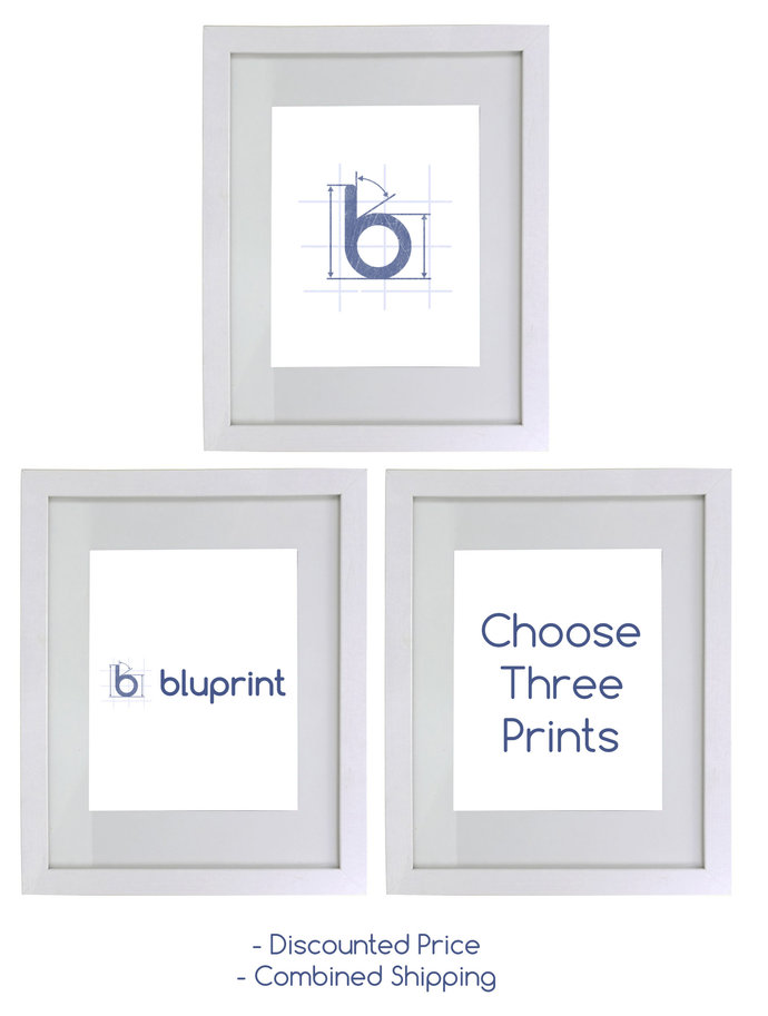 Choose Any Three Prints for a discount price.  Home decor sports art blueprints.