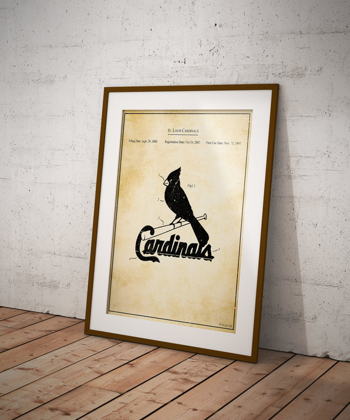 St. Louis Cardinals Vintage Logo Patent Print 5x7 8x10 poster with Free