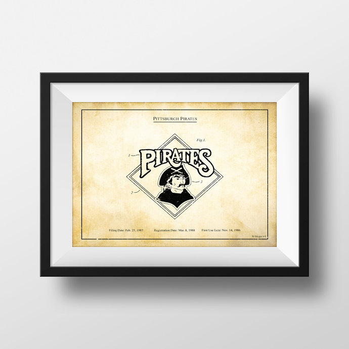 Pittsburgh Pirates vintage logo patent art print. 5x7 to 24x36 with free