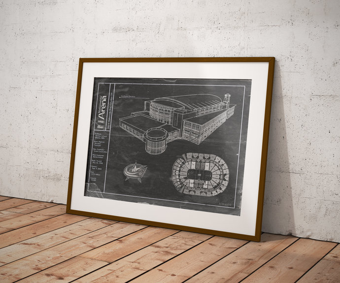 Columbus Blue Jackets Nationwide Arena blueprint art print. 5x7 to 24x36 with