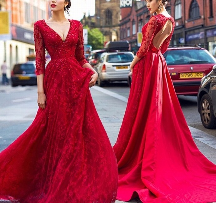 Charming Prom Dress, Red Appliques Long Prom Dresses with Beaded, Long Sleeve