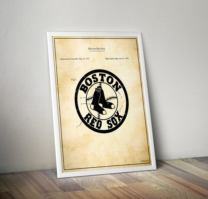Boston Red Sox Vintage Logo Patent Art Print. 5x7 8x10 poster with free
