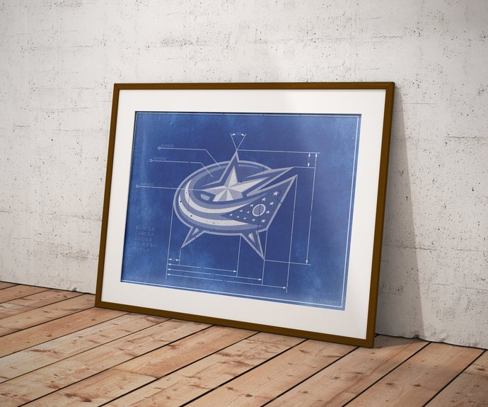Columbus Blue Jackets logo schematic art print. 5x7 to 24x36 with Free Shipping.