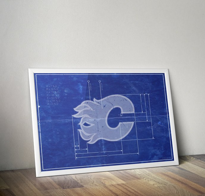 Calgary Flames vintage logo schematic art print. 5x7 to 24x36 with free