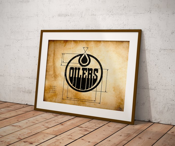 Edmonton Oilers logo schematic papyrus styled art print. 5x7 to 24x36 with free