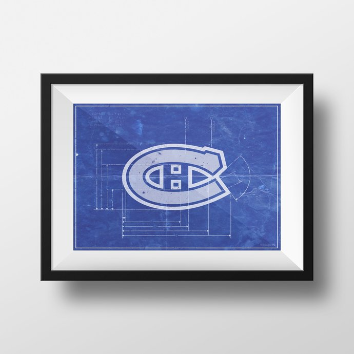 Montreal Canadians logo schematic art print. 5x7 to 24x36 with free shipping.