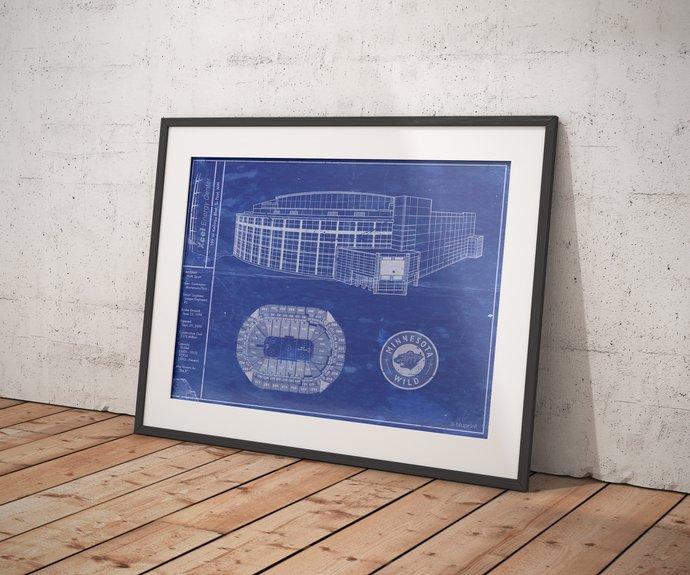 Xcel Energy Center blueprint Art Print Minnesota Wild. 5x7 8x10 poster with free
