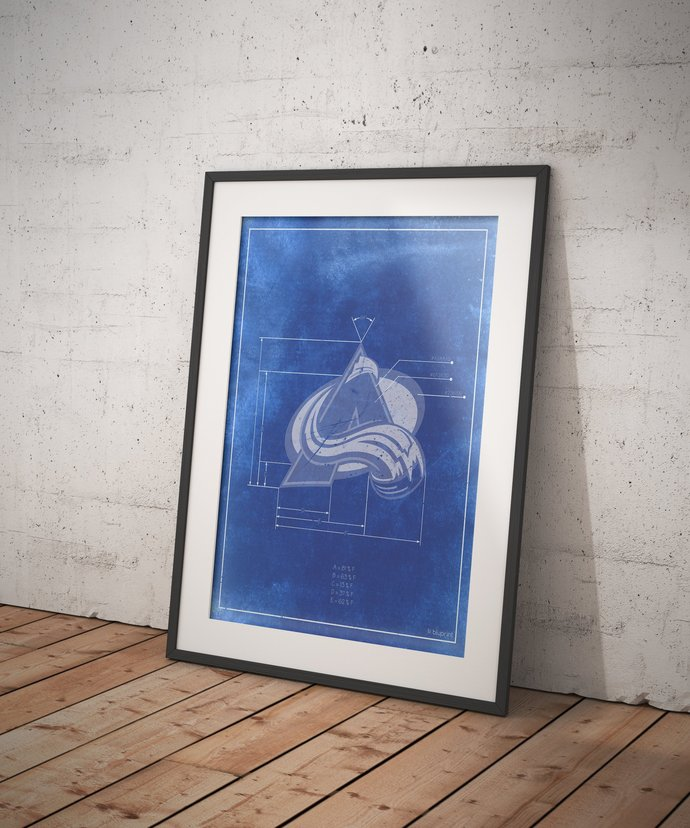 Colorado Avalanche Logo Schematic Art Print. 5x7 to 24x36 with free shipping.