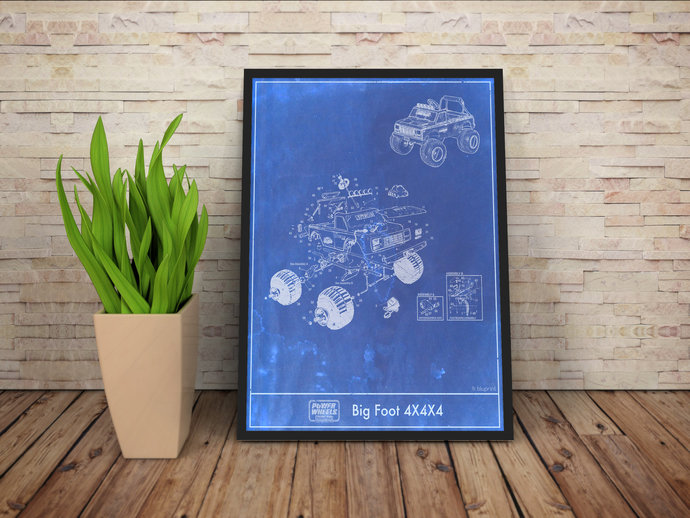 Power Wheels Bigfoot Monster Truck Diagram Blueprint Print. 5x7 to 24x36 with