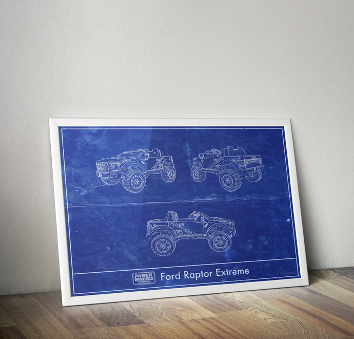 Power Wheels Ford F150 Raptor Blue Print Art Print. 5x7 to 24x36 with free
