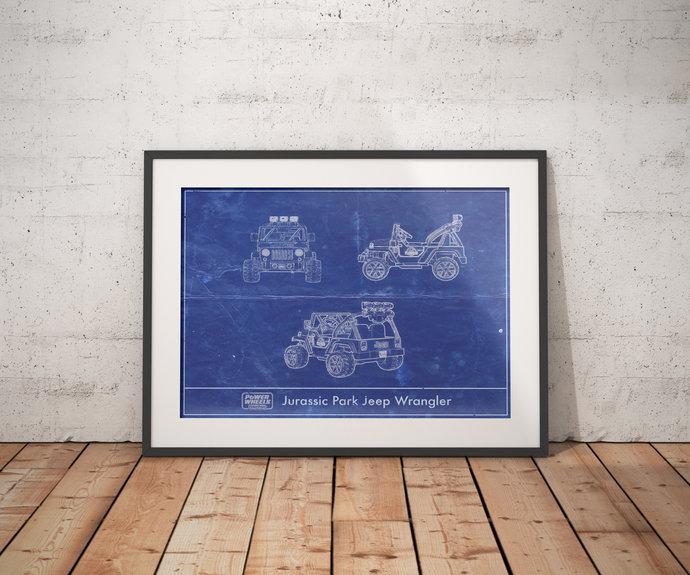 Power Wheels Jurassic Park Jeep Wrangler Blueprint art print, 5x7 to 24x36 with