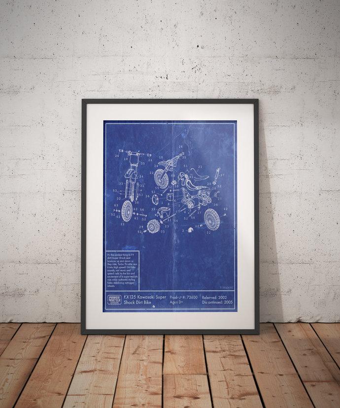 Power Wheels Kawasaki Super Shock Dirt Bike Diagram Print, 5x7 to 24x36 with