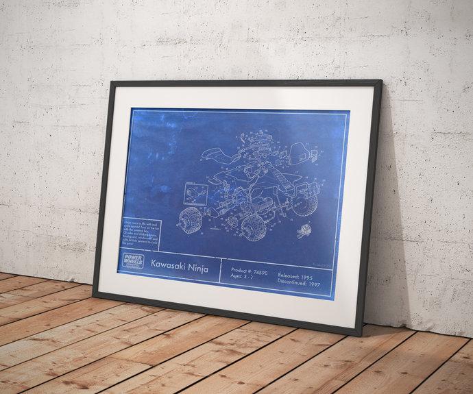 Power Wheels Kawasaki Ninja Quad Diagram Print. 5x7 to 24x36 with free shipping.