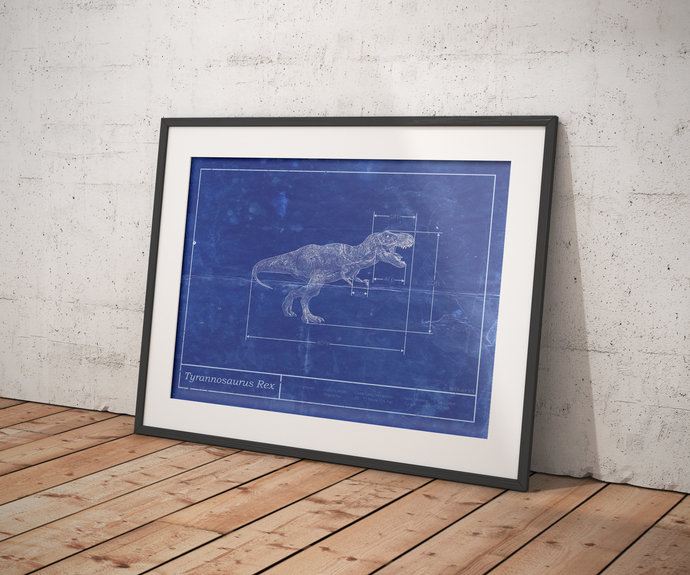 Tyrannosaurus Rex Schematic diagram art, 5x7 8x10 & Poster with Free Shipping,