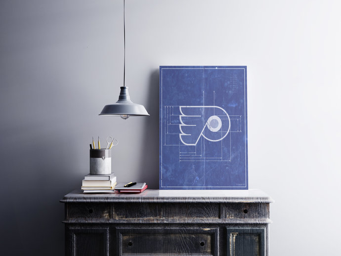Philadelphia Flyers Logo Schematic Art Print. 5x7 to 24x36 with free shipping.
