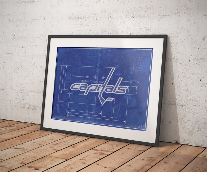 Washington Capitals logo schematic art print. 5x7 to 24x36 with free shipping.