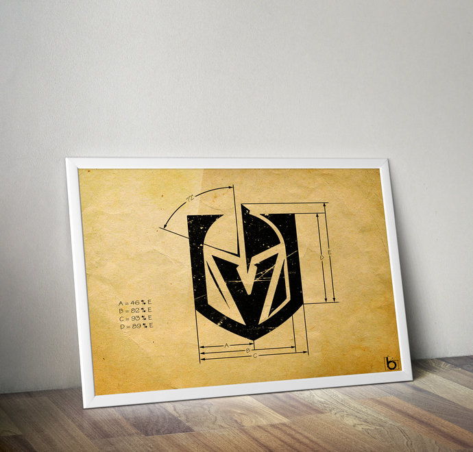 Vegas Golden Knights logo schematic papyrus styled print. ,5x7 to 24x36 with