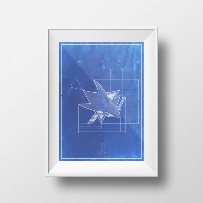 San Jose Sharks logo schematic art print. 5x7 to 24x36 with free shipping. NHL