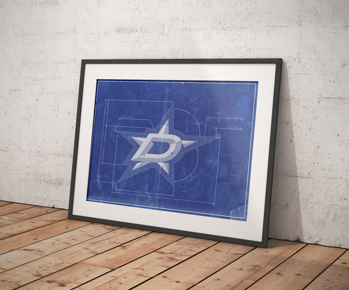 Dallas Stars logo schematic art print. 5x7 to 24x36 with free shipping. NHL